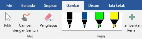 Pena dan penyorot di tab gambar di Office 2016