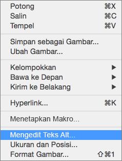 Menu Excel 365 Edit teks Alt untuk gambar