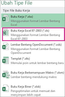 Format buku kerja Excel 97-2003