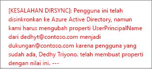 Detail kesalahan sinkronisasi direktori pengguna