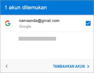 Ketuk Tambahkan Akun untuk menambahkan akun Gmail Anda ke aplikasi
