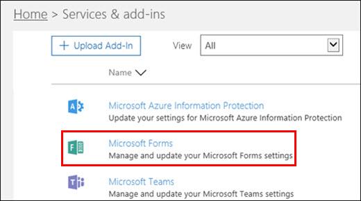 Pengaturan admin Microsoft Forms