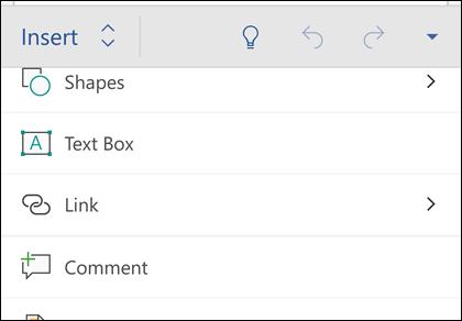 Menu sisipkan memungkinkan Anda menyisipkan bentuk, link, komentar, dan lainnya.
