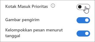 Cuplikan layar tombol alih Kotak Masuk Prioritas