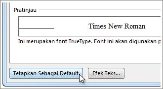 Tombol Setel Sebagai Default di kotak dialog Font
