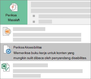 Periksa item menu Aksesibilitas