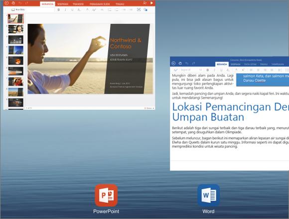 Menutup aplikasi PowerPoint untuk iPad