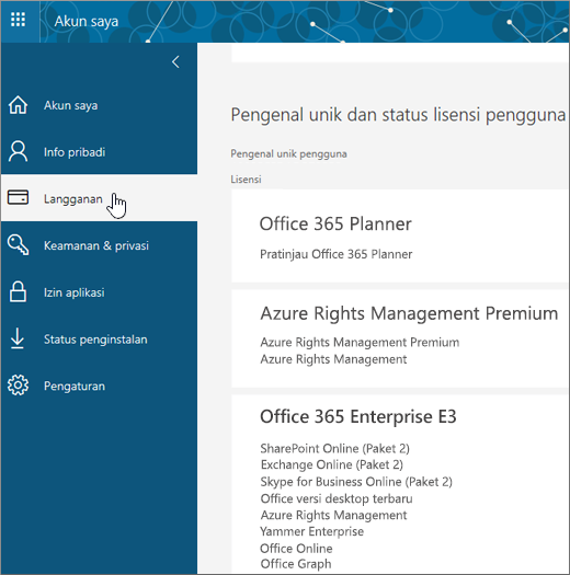 Halaman Langganan Office 365