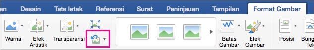 Pada tab Format Gambar, Reset Gambar disorot.