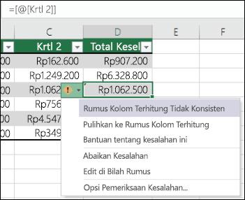 Pemberitahuan kesalahan rumus tidak konsisten di dalam tabel Excel