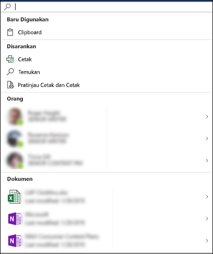 Kotak Microsoft Search dipilih