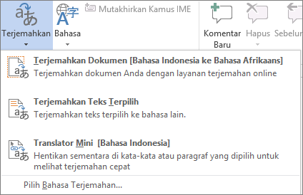 Alat penerjemahan tersedia di program Office
