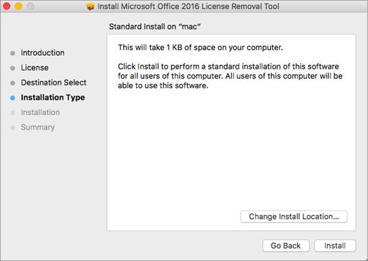 Klik Instal pada alat untuk menghapus lisensi.