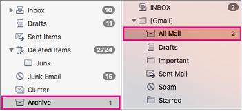 Tampilan daftar folder Exchange dan Gmail yang diletakkan secara berdampingan dengan folder arsip disorot
