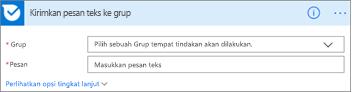 Cuplikan layar: Masukkan nama grup dan pesan yang ingin Anda kirim