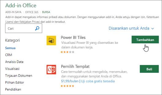 Cuplikan layar Halaman Add-in Office di mana Anda bisa memilih atau mencari add-in untuk Excel.
