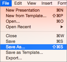 Menampilkan Menu File > Simpan Sebagai di PowerPoint 2016 untuk Mac.