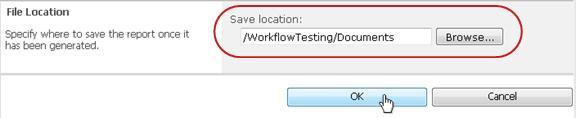 Mengklik OK pada lokasi penyimpanan file