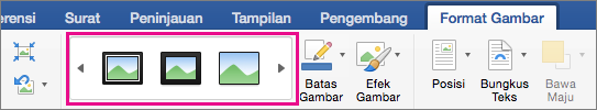 Pada tab Format Gambar, galeri batas gambar disorot.