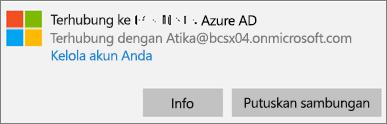 Klik atau ketuk Info pada dialog Tersambung ke Azure AD.