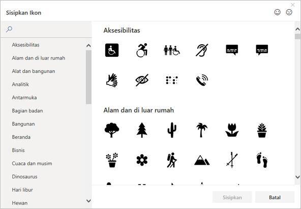 Anda dapat memilih ikon untuk disisipkan dari Pustaka ikon di Office