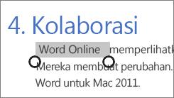 Memilih teks dalam mode sentuh di Office Online