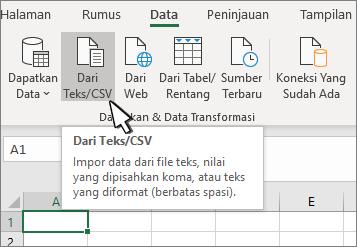 Memilih teks/CSV dari tab data
