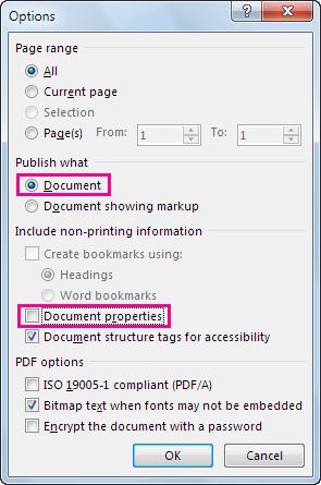 Kotak opsi untuk membuat PDF