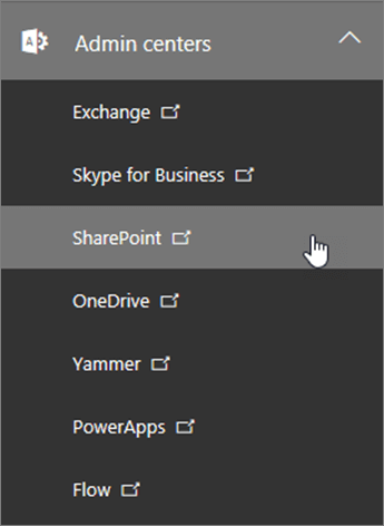 Daftar Admin pusat untuk Office 365, termasuk SharePoint.