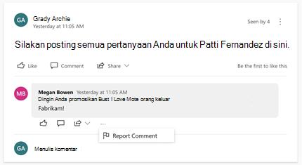 Melaporkan komentar dalam percakapan