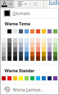 Cuplikan layar opsi warna font di menu Beranda.