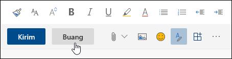 Cuplikan layar tombol Buang