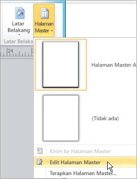 Memilih Edit halaman Master pada menu halaman Master