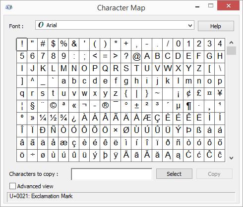 Peta karakter Windows program