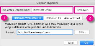 Dialog Hyperlink Office untuk Mac