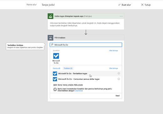 Cuplikan layar memperlihatkan Microsoft To-Do yang dipilih