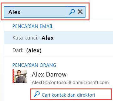 Opsi pencarian Outlook Web App