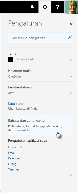 Panel pengaturan Office 365.
