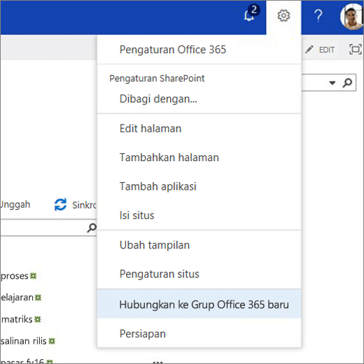 Gambar ini memperlihatkan menu ikon gerigi dan menyambungkan Sambungkan ke grup Office 365 baru.