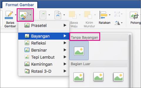 Pada tab Format Gambar, Efek Gambar disorot.