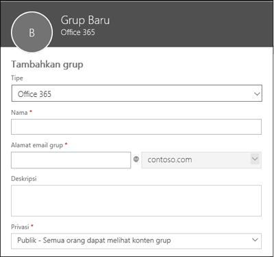 Membuat Grup Office 365 baru, daftar distribusi baru, atau grup keamanan baru