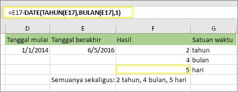 "=DATEDIF(D17,E17,""bh"") dan hasilnya: 5"
