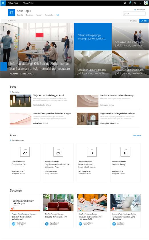 Desain topik situs SharePoint komunikasi