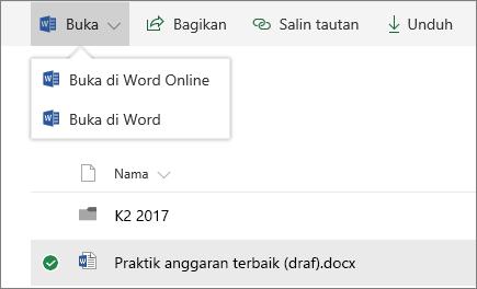 Pustaka dokumen SharePoint Online terbuka