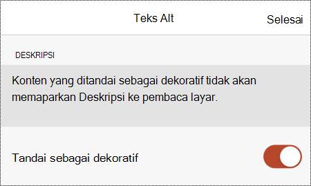 Opsi Tandai sebagai dekoratif dipilih dalam kotak dialog teks Alt di PowerPoint untuk iOS.