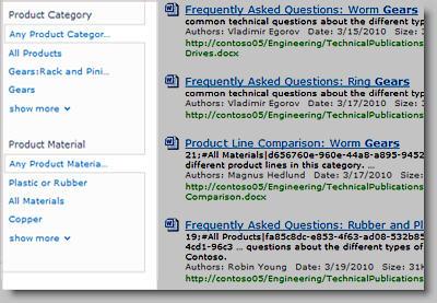 Panel perbaikan menampilkan metadata yang dapat digunakan untuk memfilter hasil pencarian.