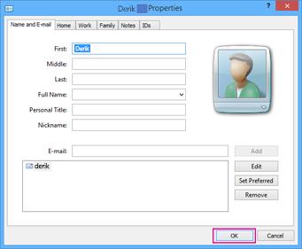Pilih OK untuk tiap kontak yang ingin Anda impor ke file csv.