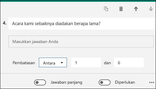 Pertanyaan teks ditampilkan dengan pembatasan angka antara 1 dan 6.