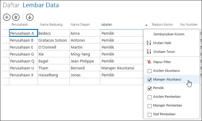 Opsi filter untuk kolom Jabatan di lembar data