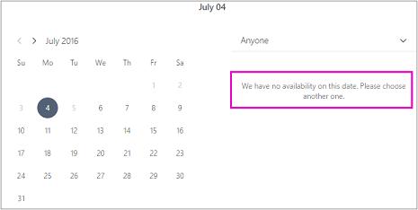 Saat office ditutup pelanggan akan melihat pesan yang mengatakan ketersediaan tidak ada. Pilih tanggal yang lain.